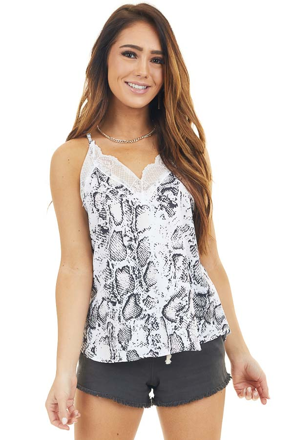 Off White and Black Snakeskin Print Tank Top With Lace Trim
