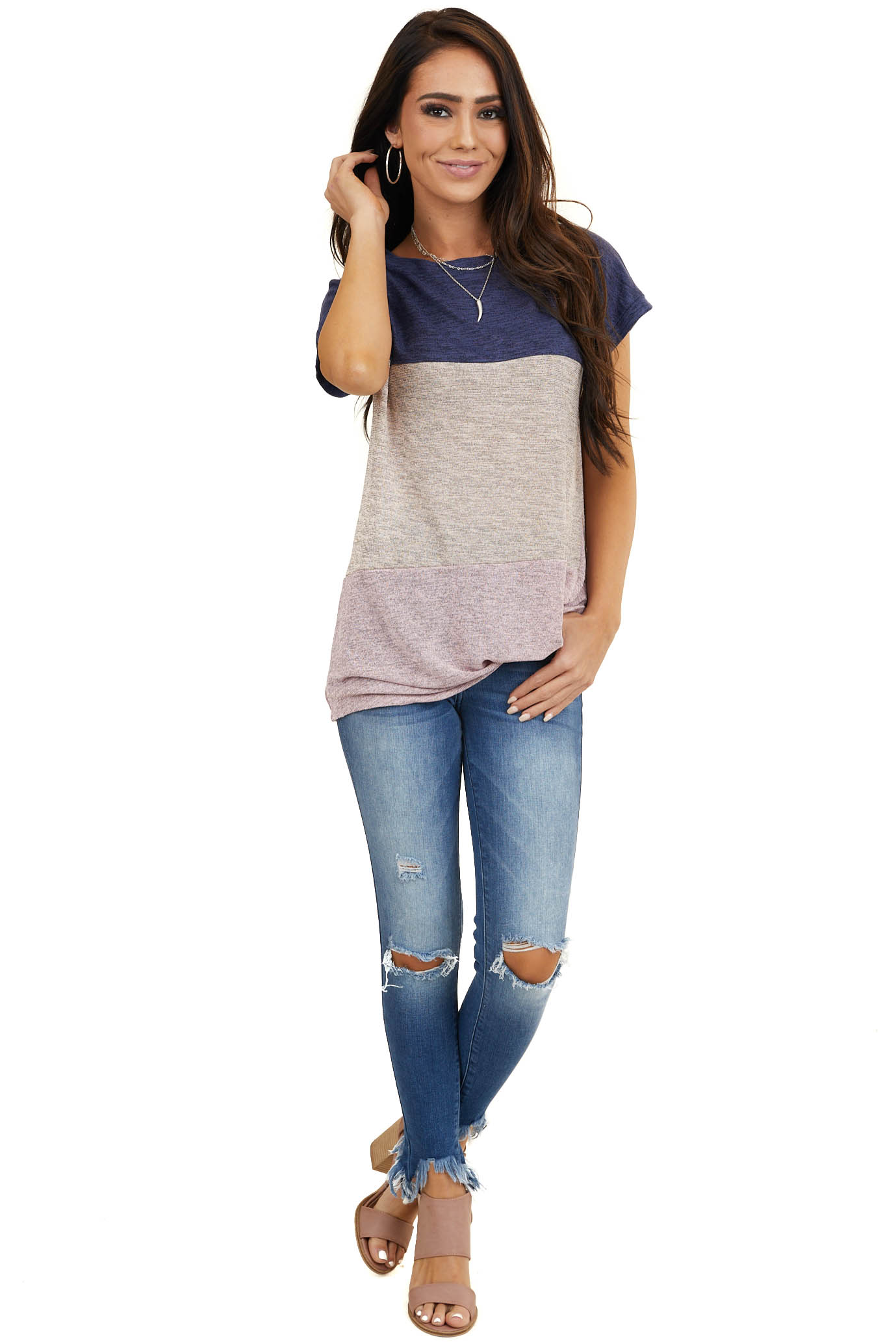 Multicolor Colorblock Short Sleeve Top with Front Twist