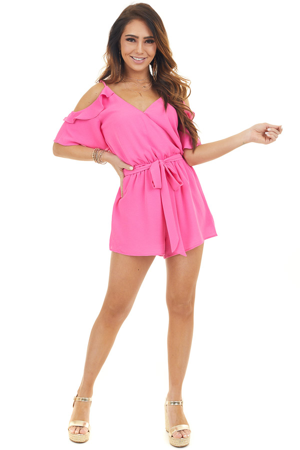 Hot Pink Cold Shoulder Surplice Romper with Waist Tie
