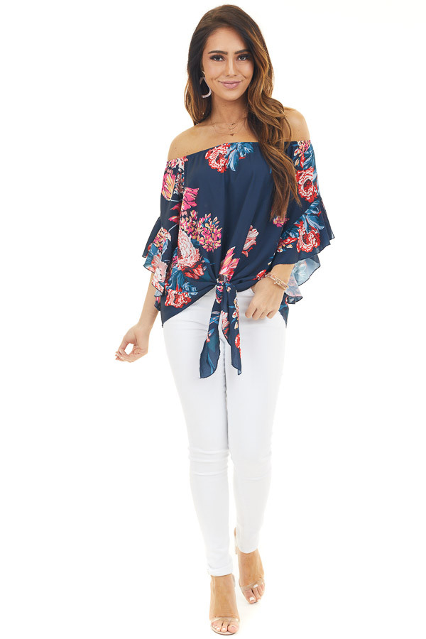 Navy Blue Floral Print Off Shoulder Top with Front Tie