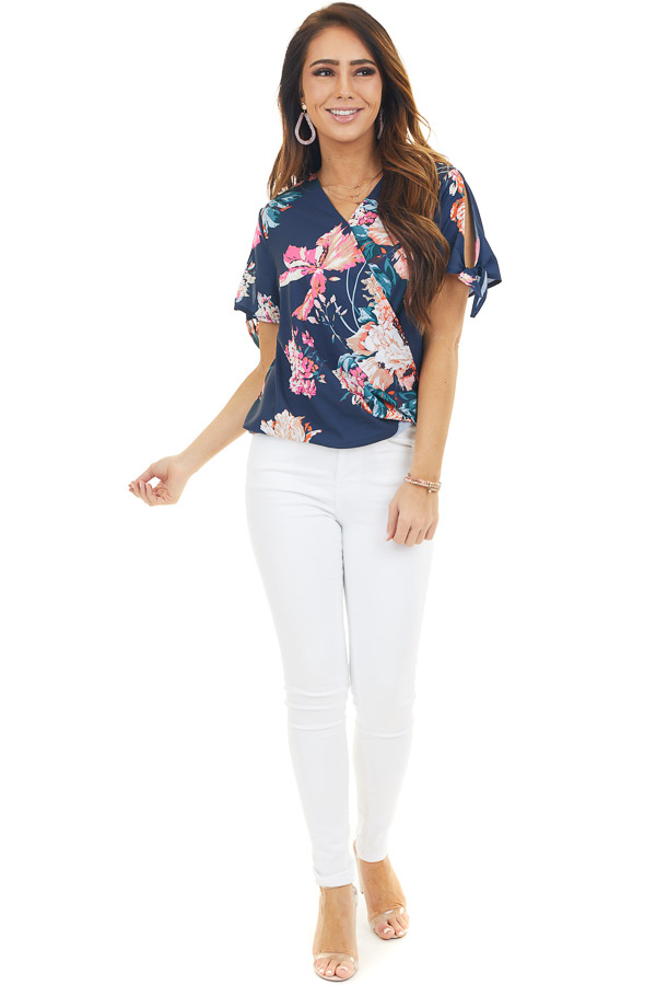 Navy Blue Floral Surplice Woven Top with Sleeve Ties