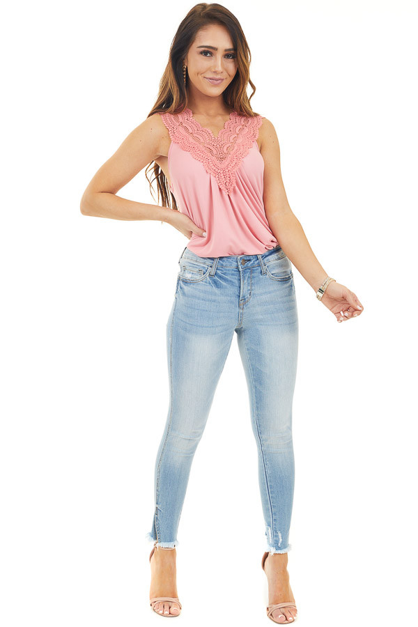 Light Coral Tank Top with Lace Trim Details and Keyhole Back