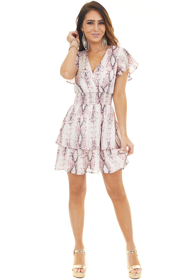 Cream and Dusty Blush Snakeskin Print Surplice Dress