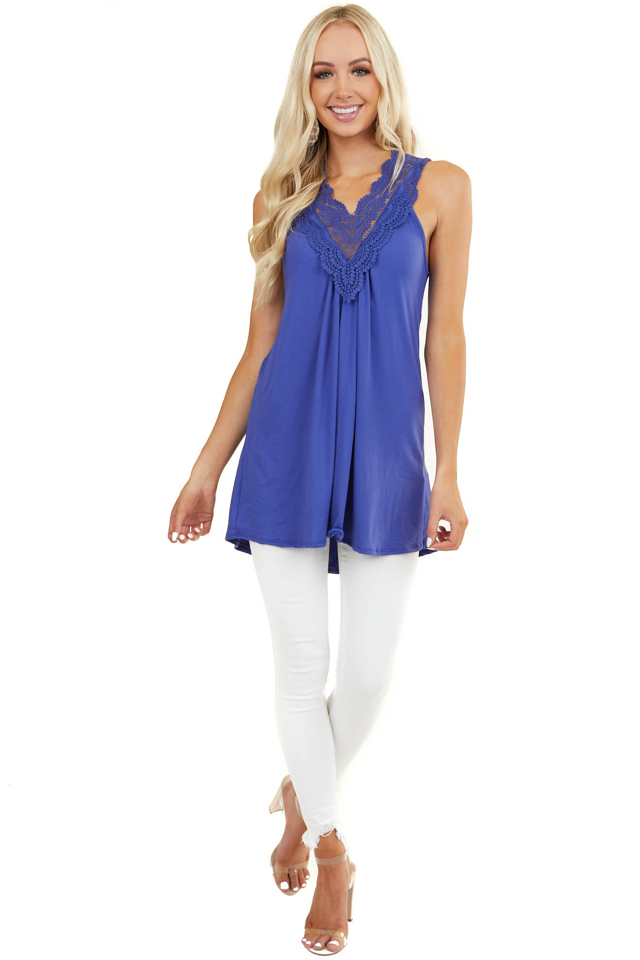 Royal Blue Tank Top with Lace Trim Details and Keyhole Back