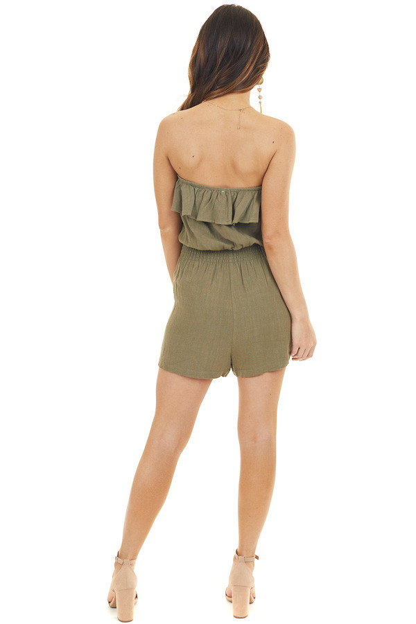Olive Green Strapless Romper with Pockets and Overlay Detail