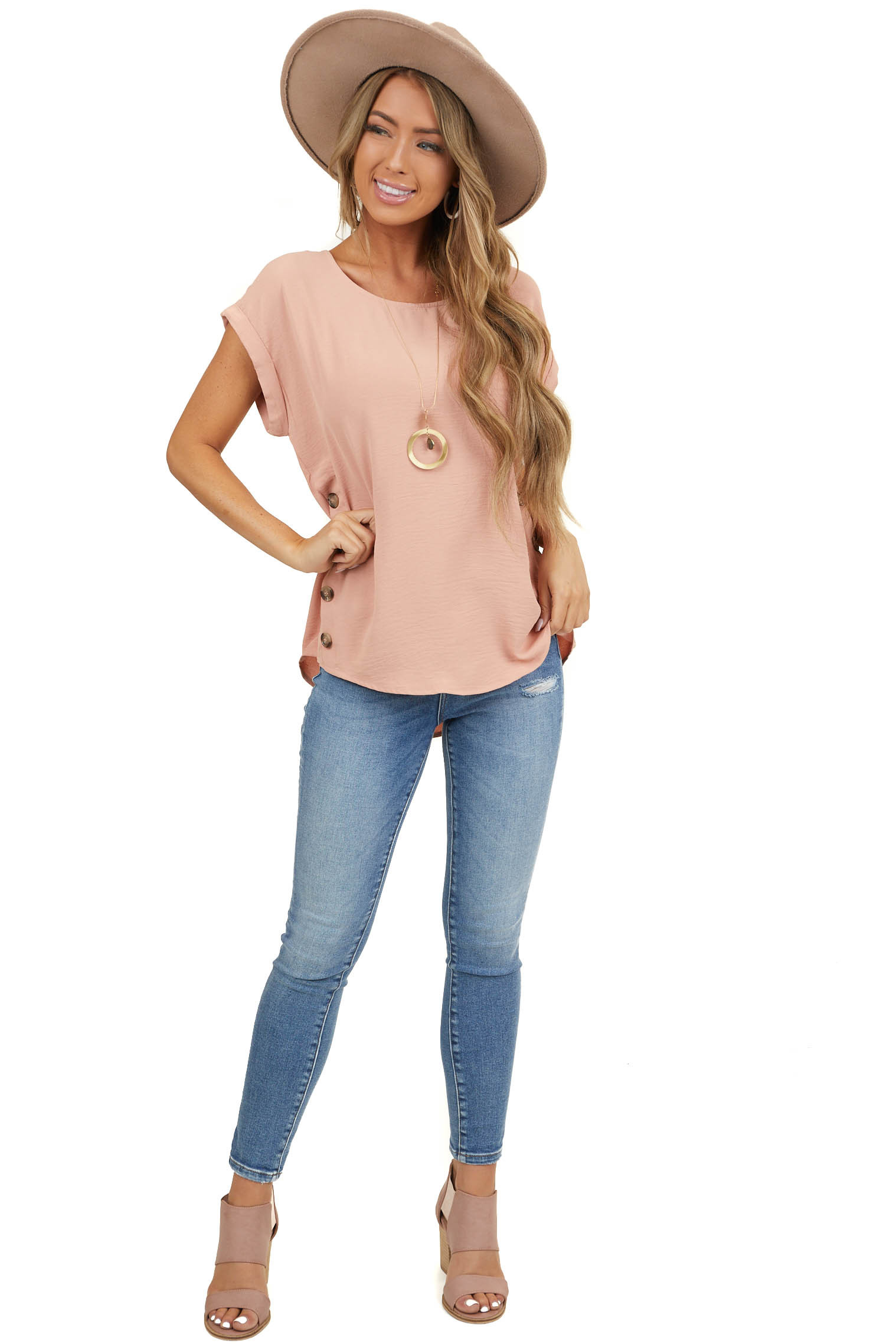 Apricot Short Sleeve Top with Side Button Details