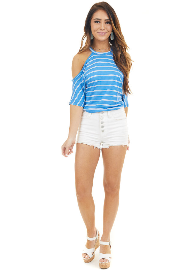 Powder Blue Striped Round Neck Knit Top with Cold Shoulders
