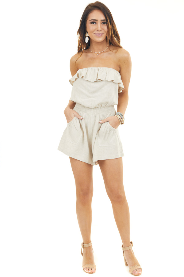 Oatmeal Strapless Romper with Pockets and Overlay Detail