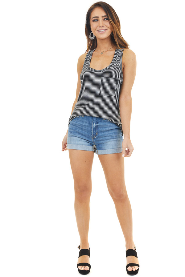 Black and Ivory Striped Racerback Tank Top with Chest Pocket