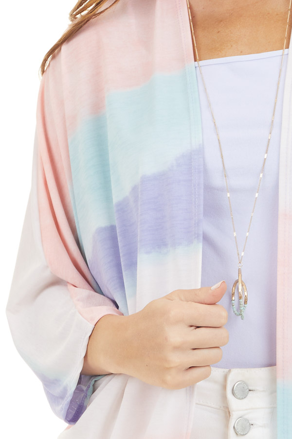 Light Coral Multicolor Cardigan with 3/4 Dolman Sleeves