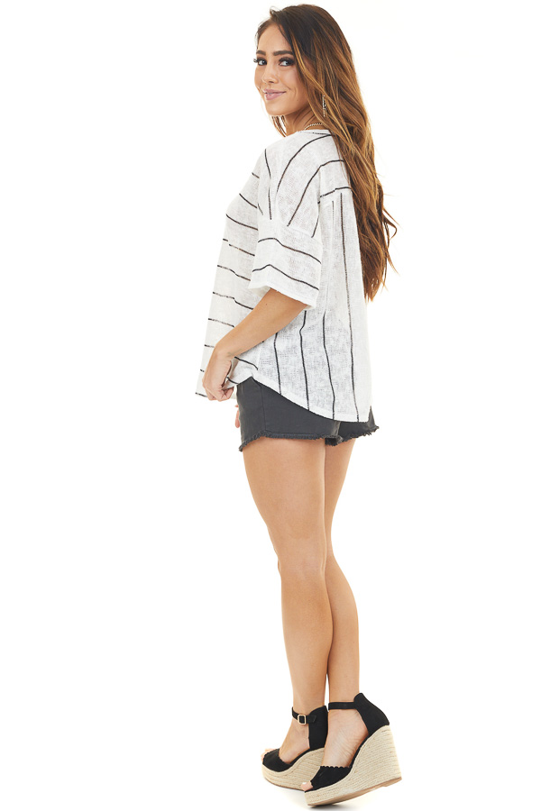 Off White Striped V Neck Half Sleeve Knit Top