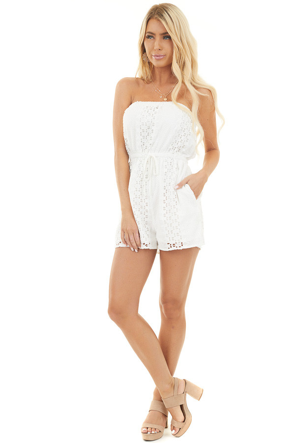 White Strapless Eyelet Lace Romper with Star Design