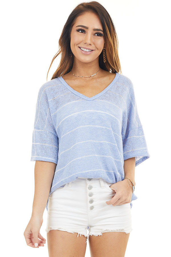 Dusty Blue Striped V Neck Half Sleeve Knit Top
