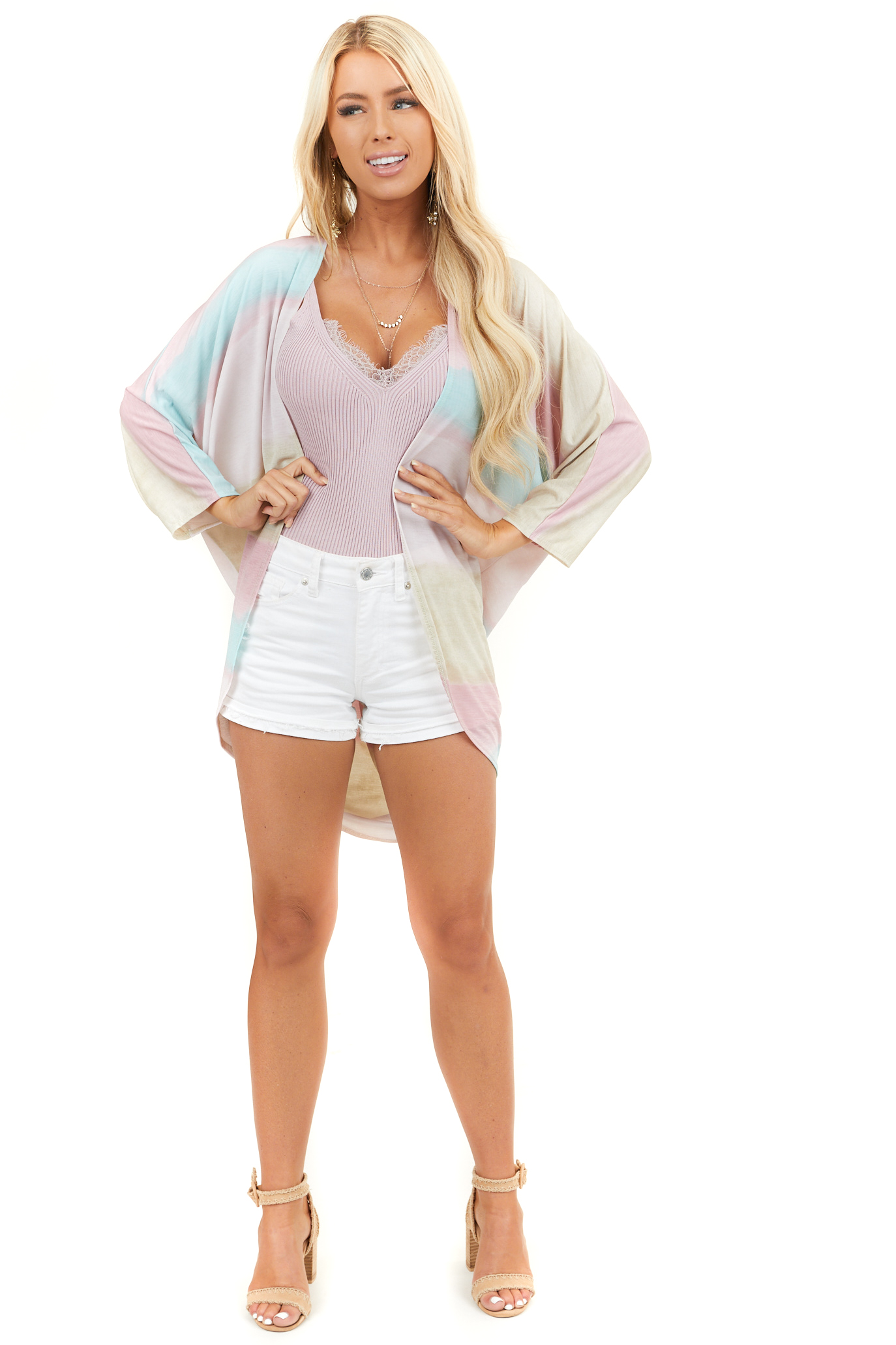 Blush Multicolor Cardigan with 3/4 Dolman Sleeves