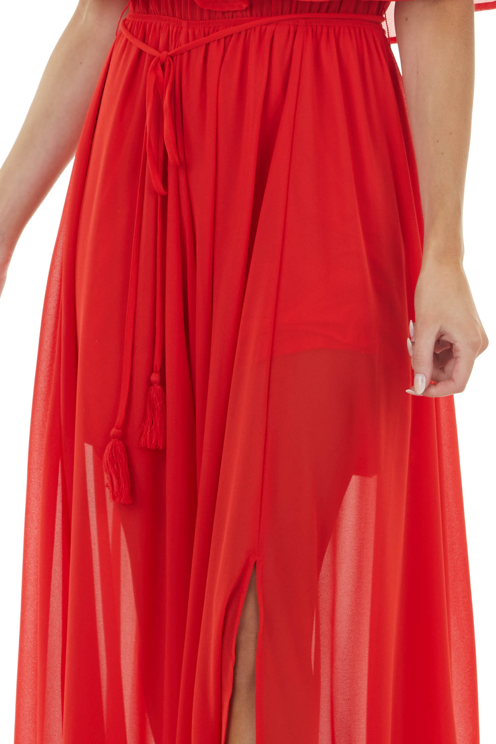 Lipstick Red Off the Shoulder Maxi Dress with Waist Tie