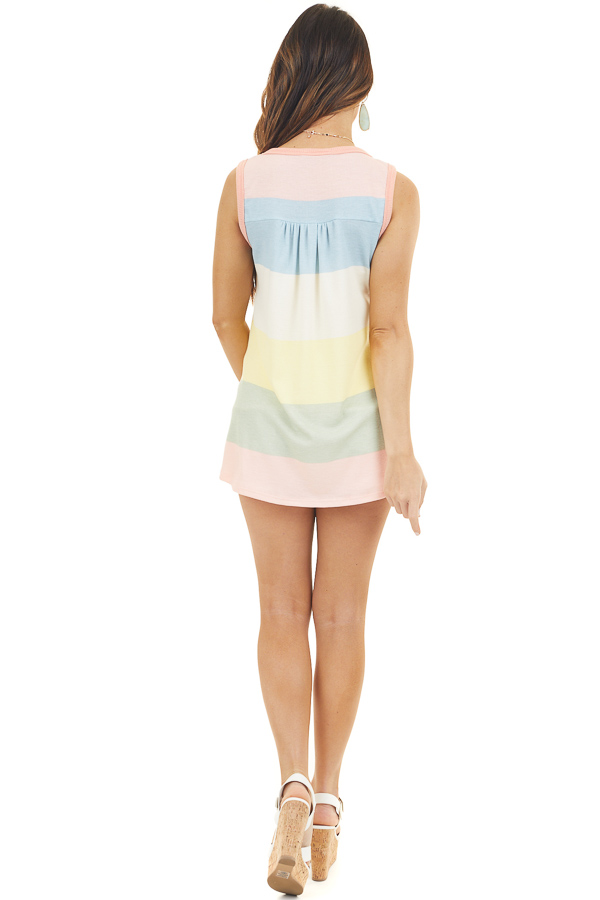 Coral Multicolor Striped Waffle Knit Tank Top with Buttons