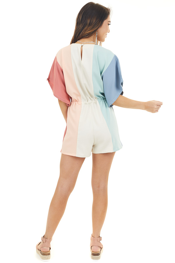 Multicolor Striped Woven Romper with Drawstring Waist