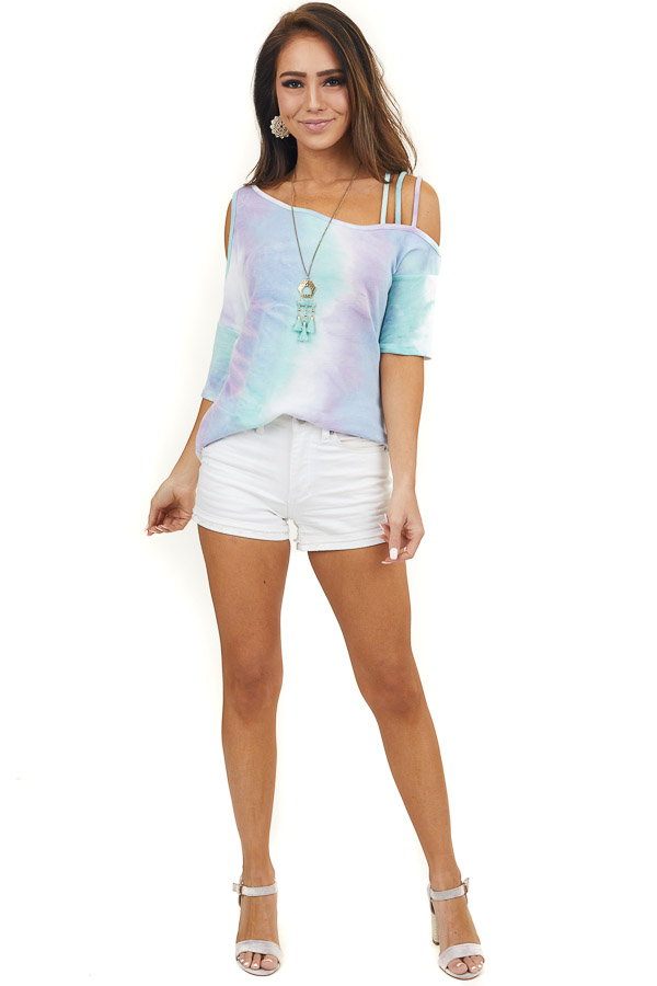 Lavender Tie Dye Cold Shoulder Top with Strappy Detail