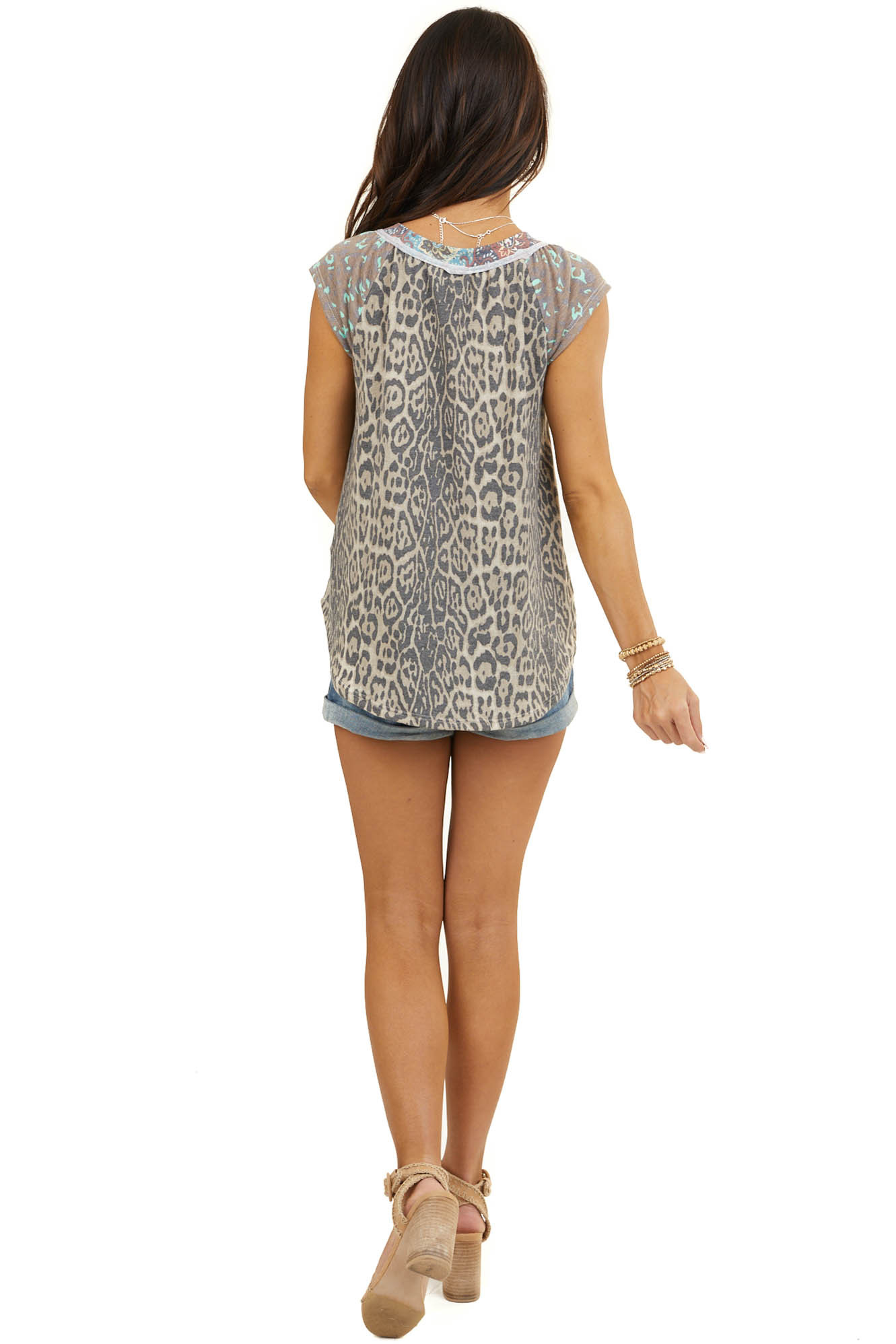 Mocha Leopard Print Top with Contrast Sleeves and Neckline