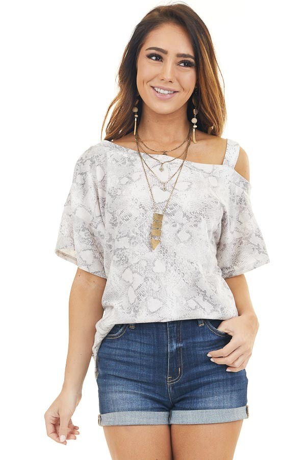Ivory Snakeskin Print Top with One Cold Shoulder