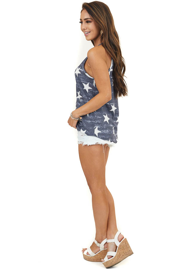 Vintage Navy Sleeveless Waffle Knit Top with Star Print