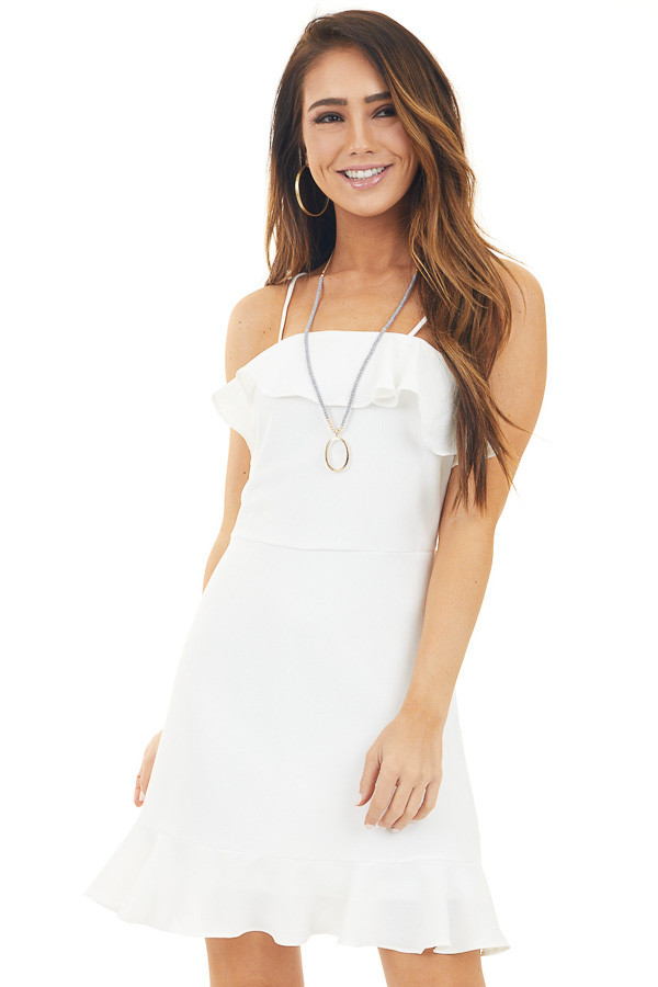 Off White Sleeveless Dress with Ruffle Overlay Detail