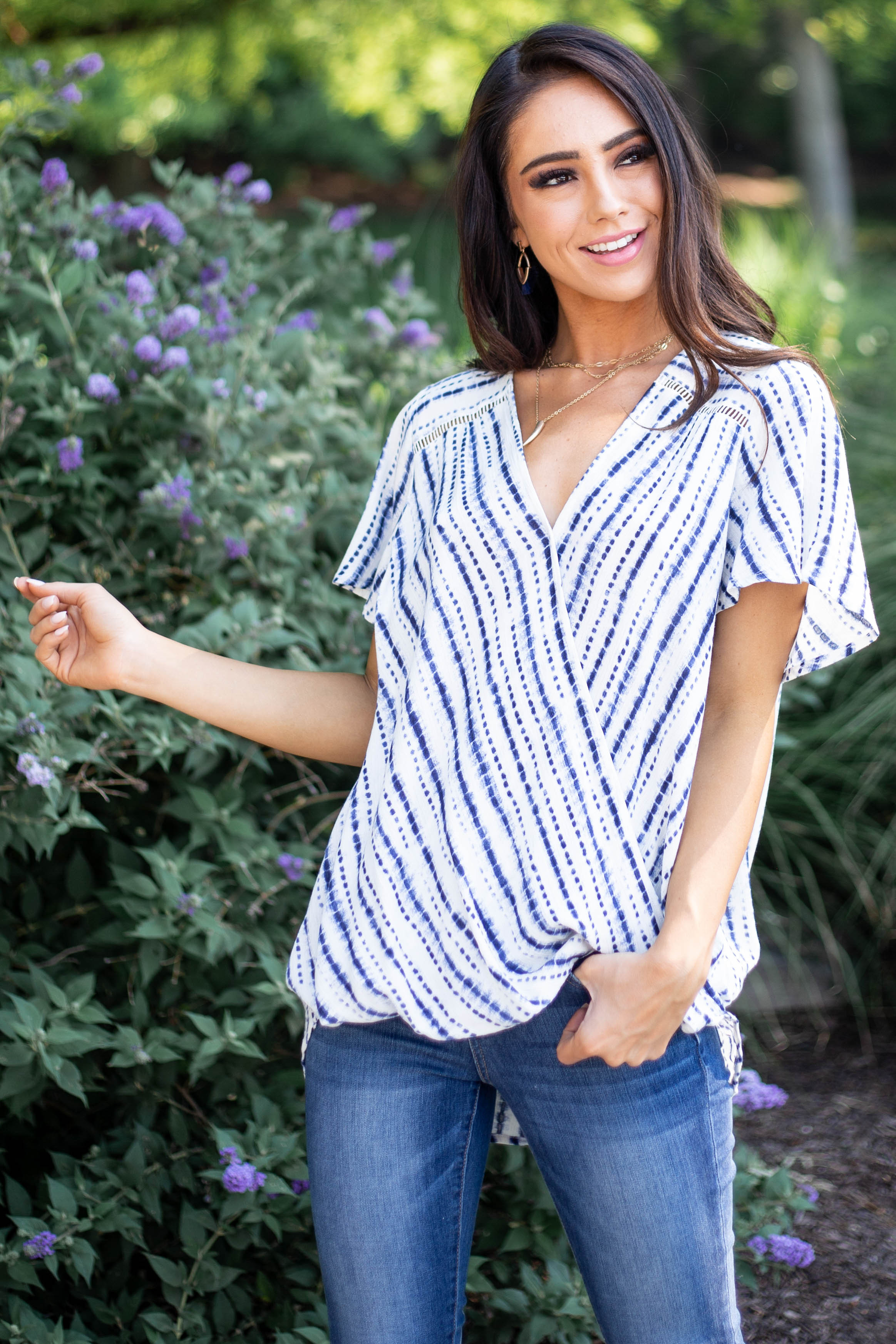 Ivory and Navy Tie Dye Striped Top with Surplice Neckline