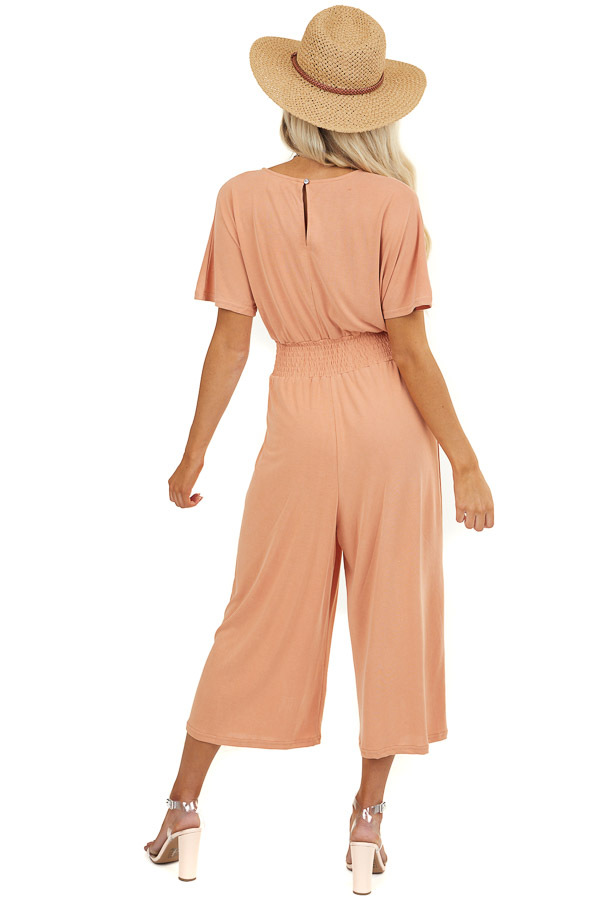Apricot V Neck Short Sleeve Jumpsuit with Smocked Waist