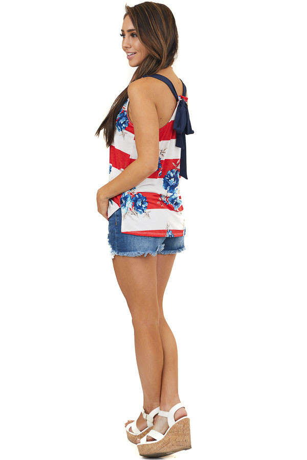 Red White and Blue Floral on Stripes Sleeveless Top with Tie