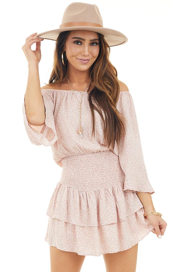 Blush Floral Print Off Shoulder Dress with Smocked Waist