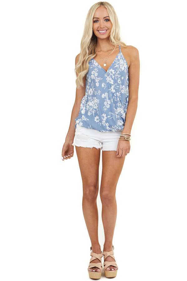 Dusty Blue Surplice Cami Top with High Low Bubble Hemline