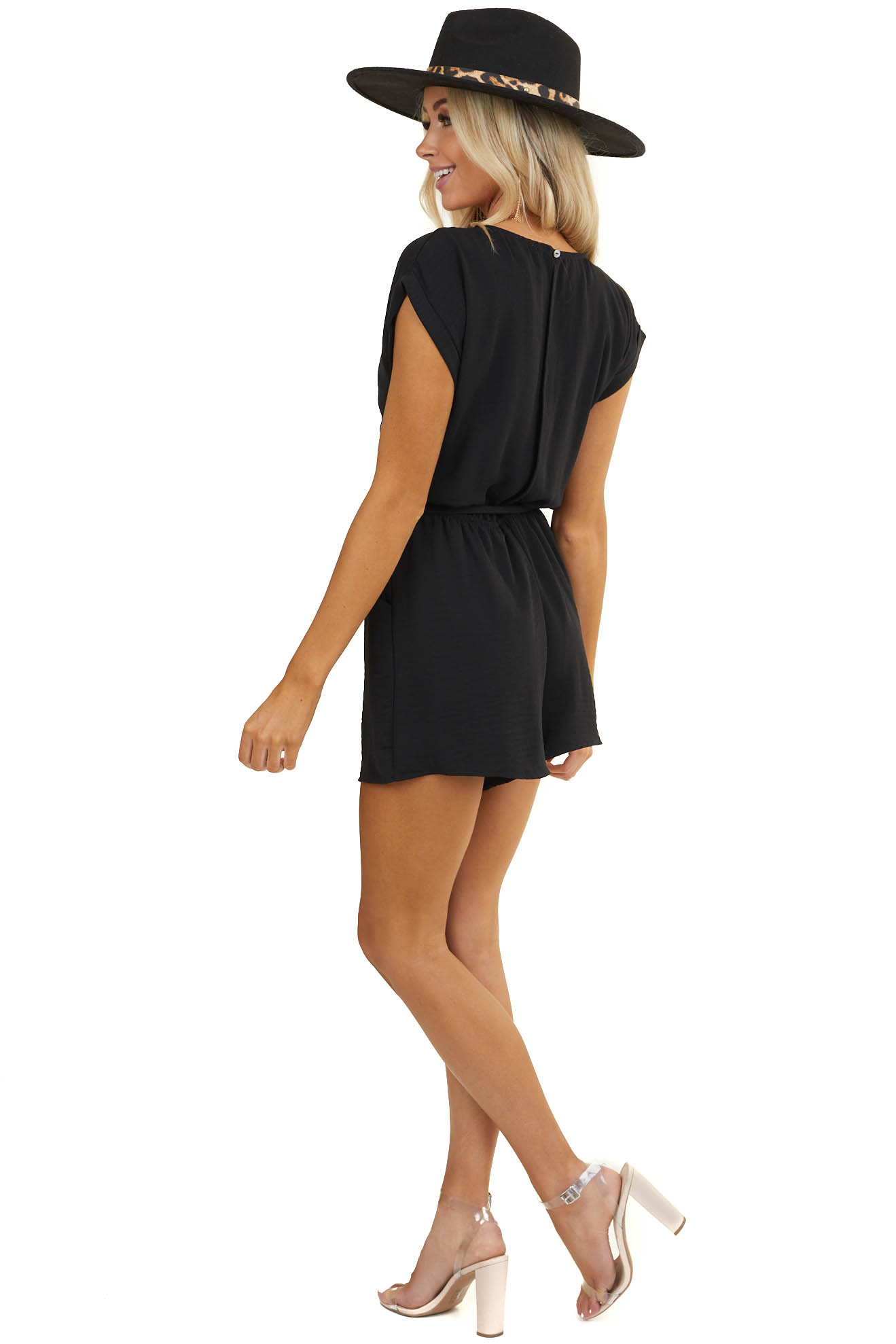 Black Romper with Gold Front Zipper Detail and Waist Tie