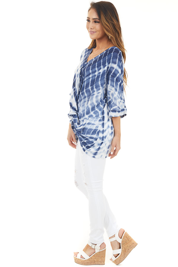 Navy and White Tie Dye Loose Woven Top with Front Tie