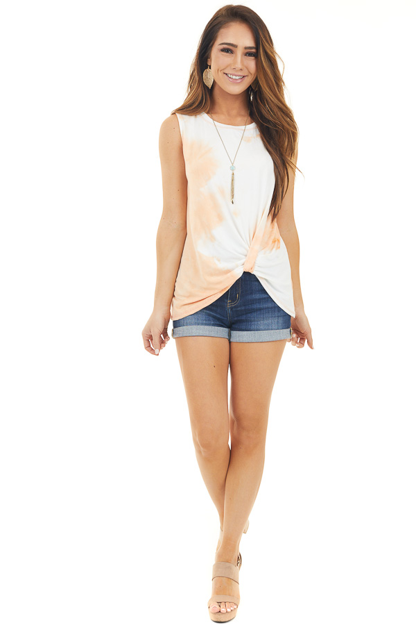 Peach and Off White Tie Dye Tank Top with Front Twist Detail