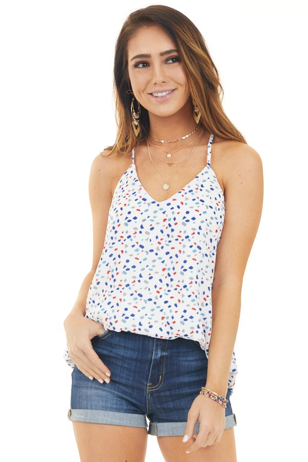 Off White Print Tank Top with V Neckline and Racerback