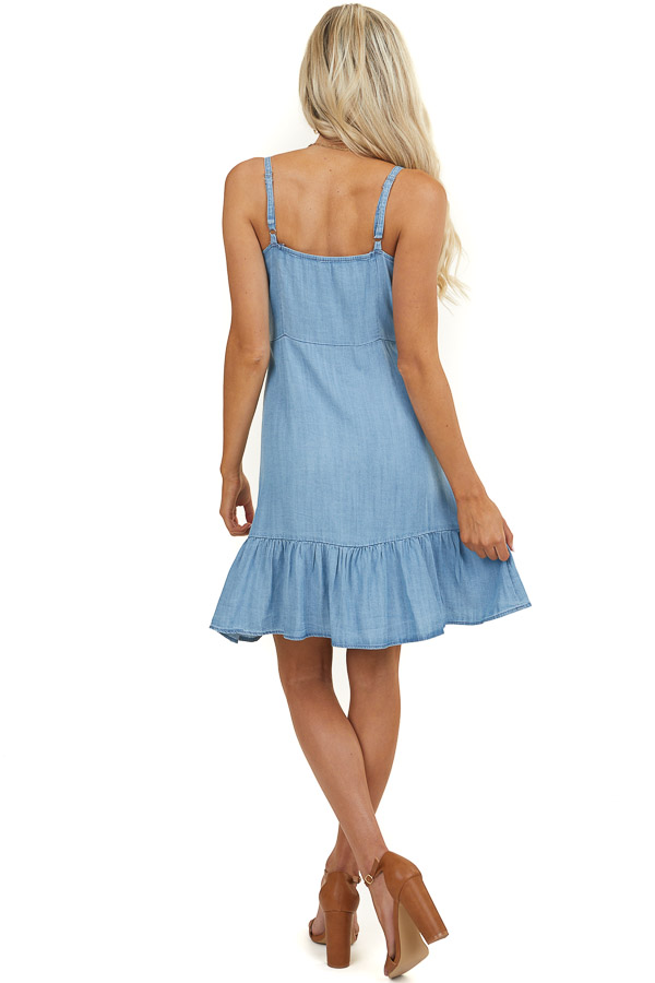 Light Wash Button Up Dress with Sweetheart Neckline