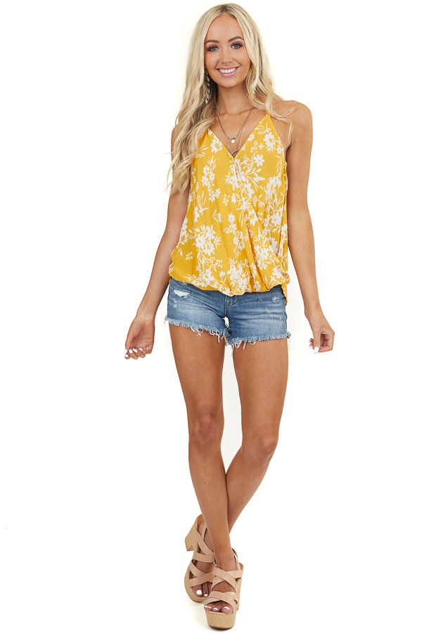 Yellow Floral Surplice Cami Top with High Low Bubble Hemline
