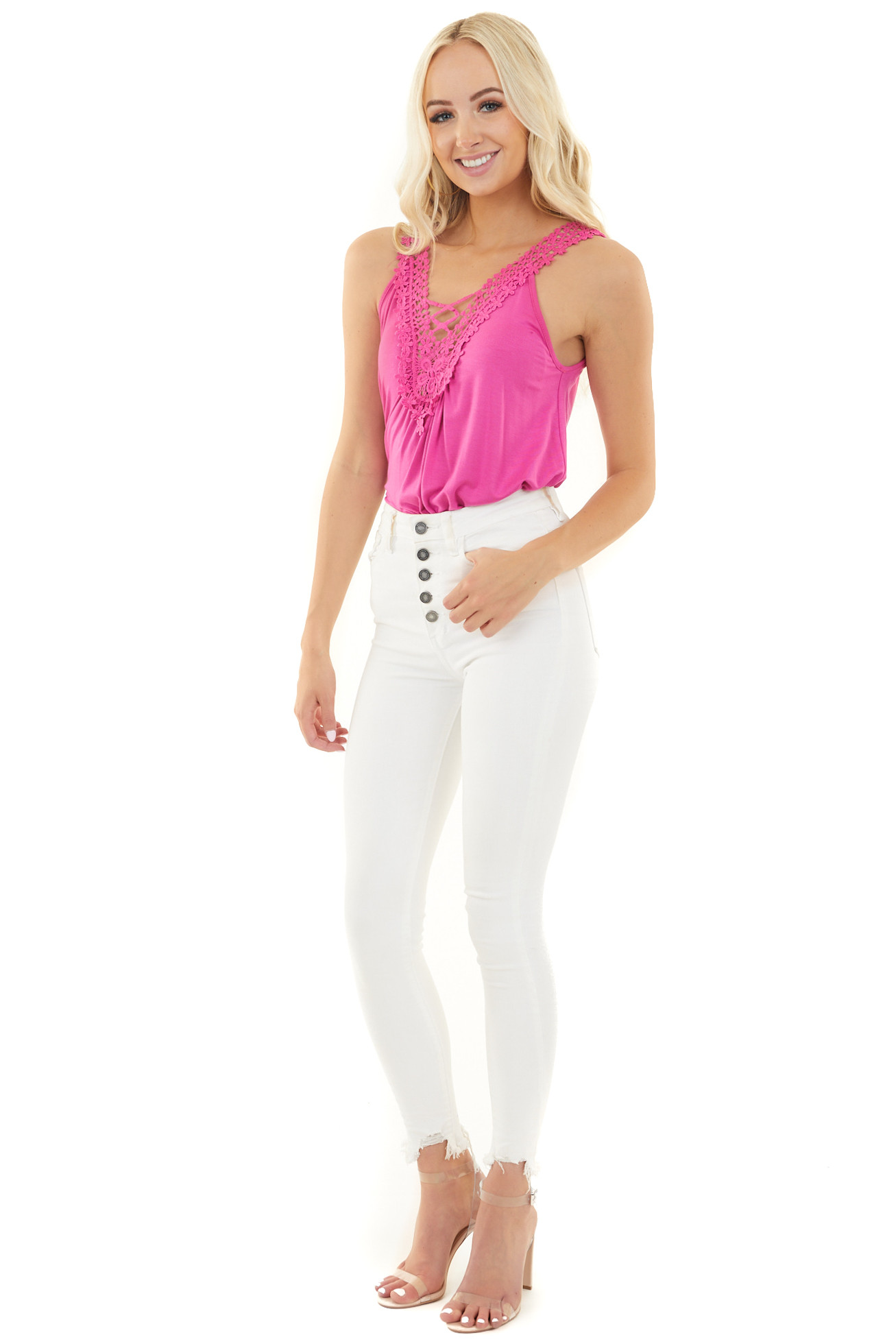 Fuchsia Tank Top with Lace V Neckline and Keyhole Back