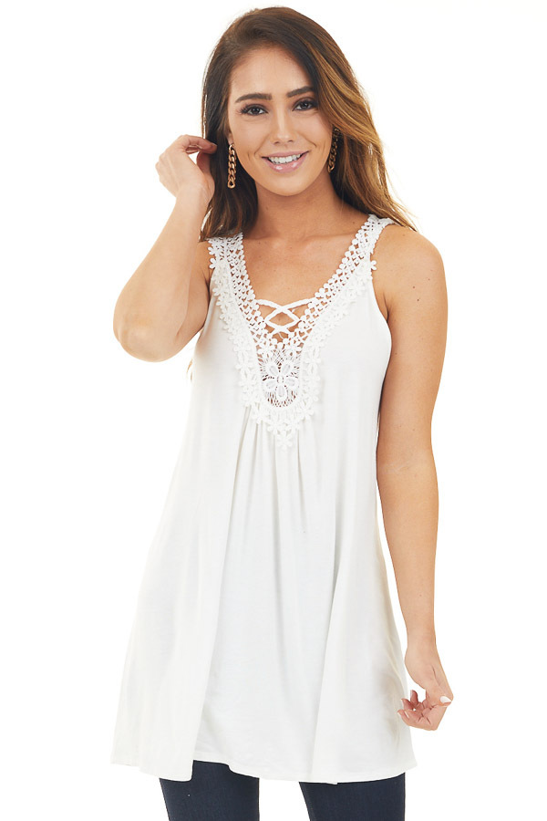 Pearl Tank Top with Lace V Neckline and Keyhole Back