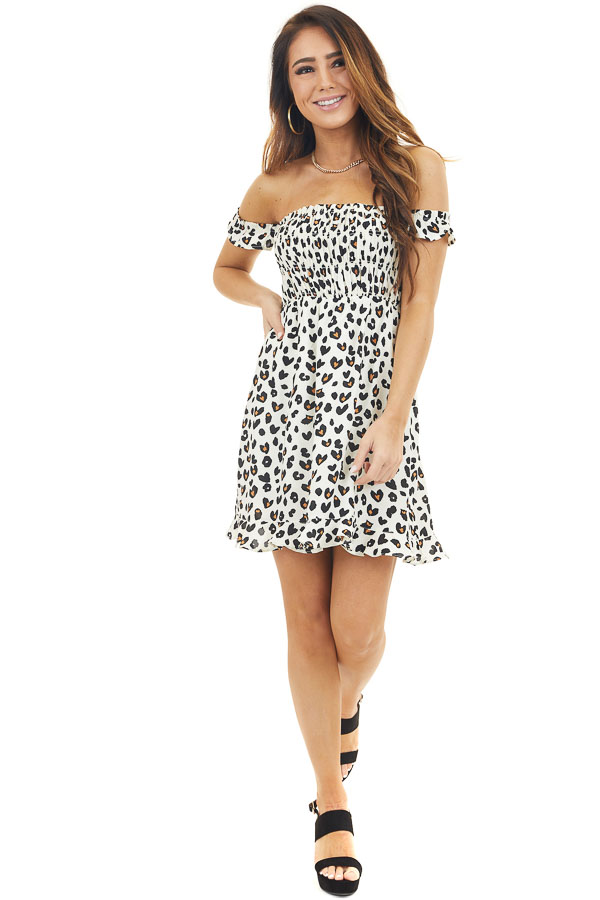 Cream Leopard Heart Print Smocked Off Shoulder Mini Dress
