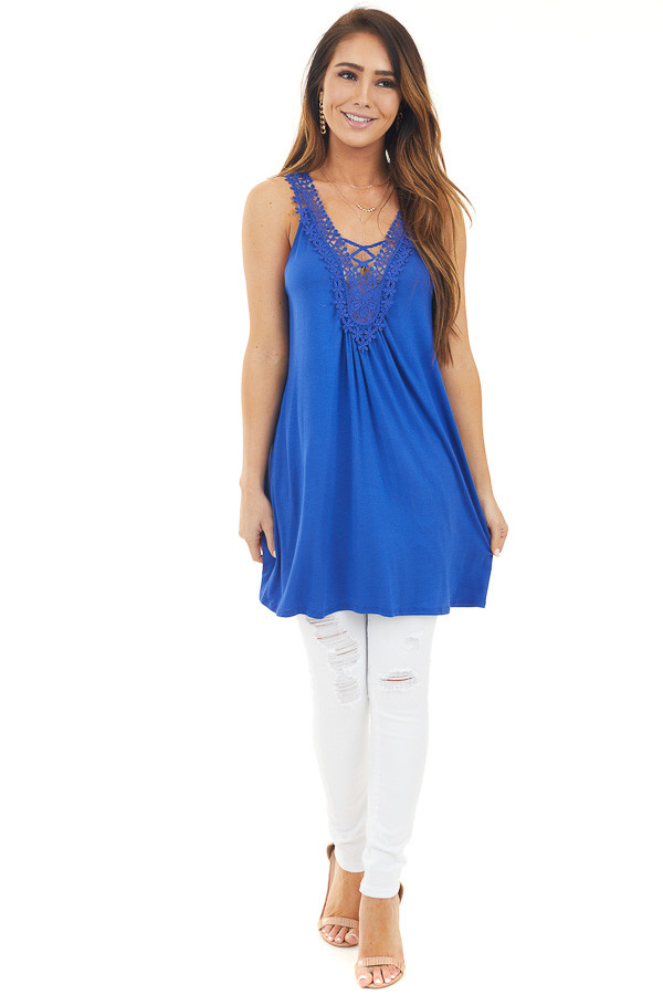 Royal Blue Tank Top with Lace V Neckline and Keyhole Back