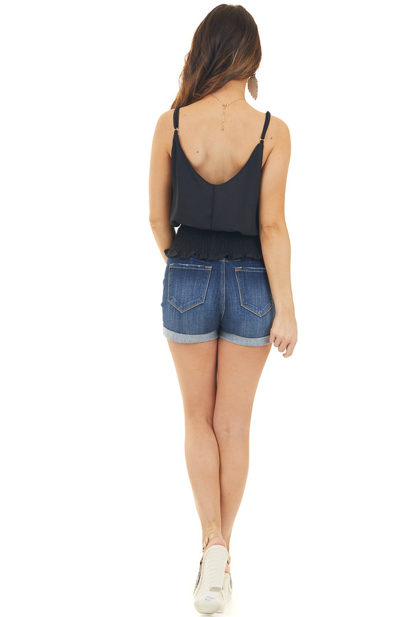 Black Button Up Tank Top with Smocked Waist Detail
