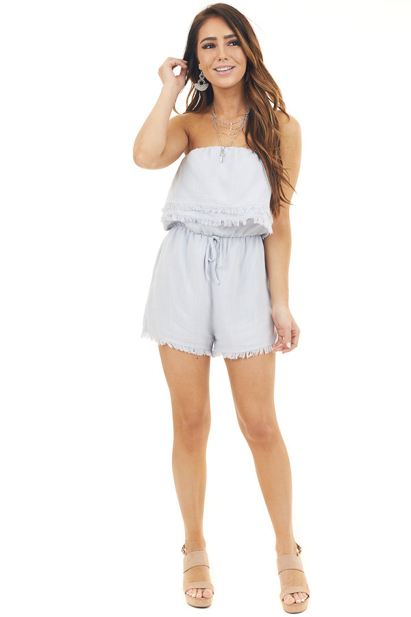 Dove Grey Strapless Romper with Frayed Hemline and Tie