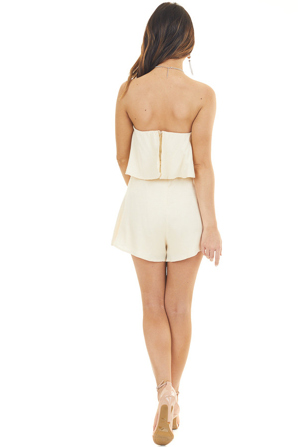 Champagne Flowy Tube Top Romper with Front Tie