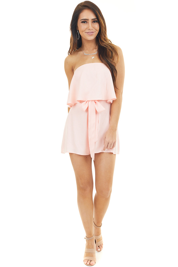 Blush Pink Flowy Tube Top Romper with Front Tie