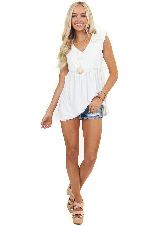 White V Neck Babydoll Top with Ruffled Cap Sleeves