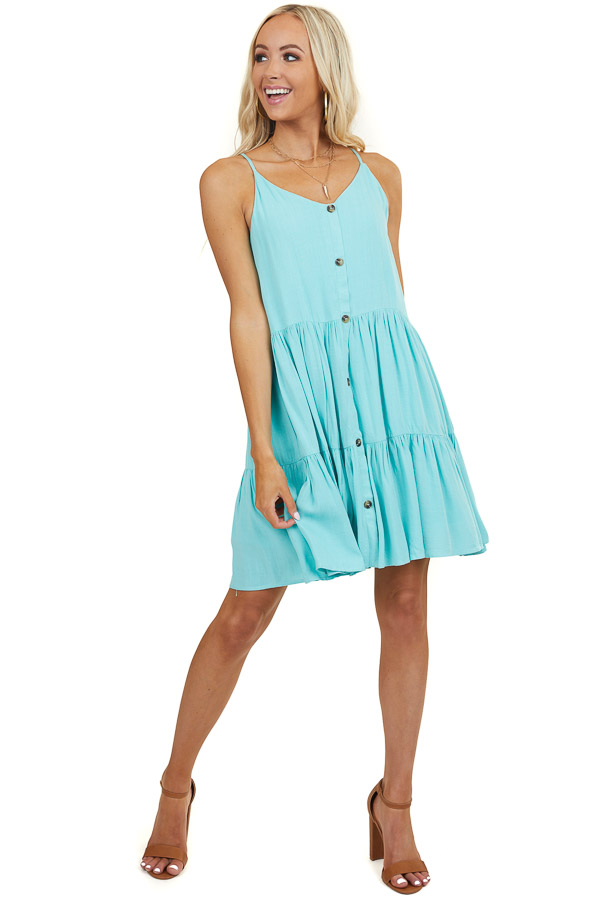 Aqua Tiered Dress with Adjustable Straps and Button Details