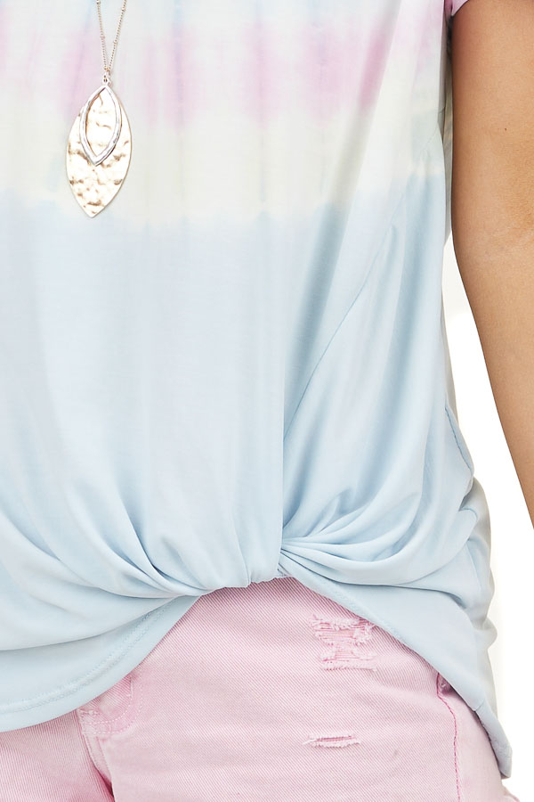 Baby Blue Tie Dye Short Sleeve Knit Top with Twisted Detail