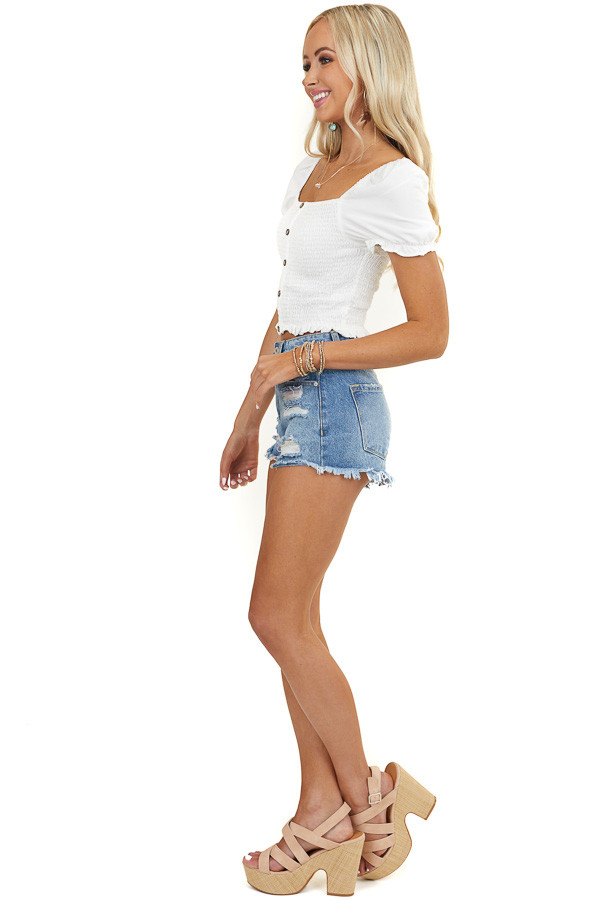 Off White Smocked Crop Top with Short Puffed Sleeves