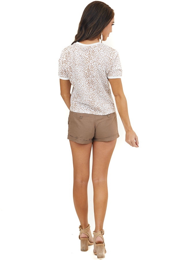 Off White Leopard Print Knit Crop Top with Short Sleeves